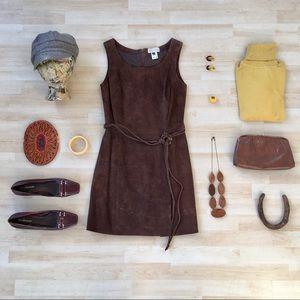 Vintage Erez Levy brown suede belted shift dress 4
